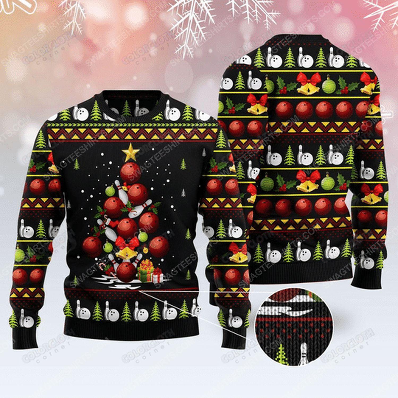 Bowling christmas tree ugly christmas sweater
