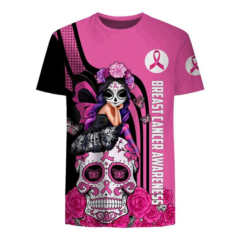 Breast cancer awareness Fight like a girl sugar skull fairy 3d t-shirt