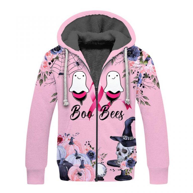 Breast cancer awareness boo bees happy halloween 3d fleece hoodie