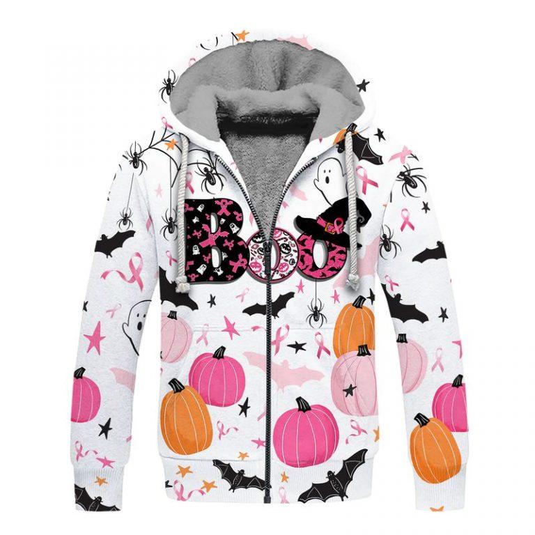 Breast cancer awareness boo pumpkin halloween 3d fleece hoodie