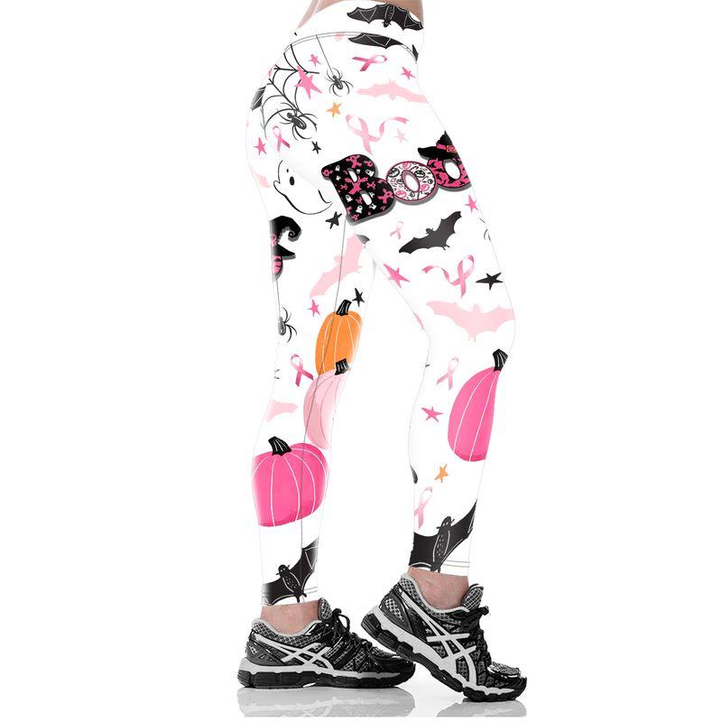 Breast cancer awareness boo pumpkin halloween 3d legging