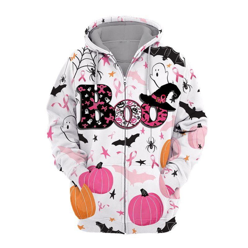 Breast cancer awareness boo pumpkin halloween 3d zip hoodie