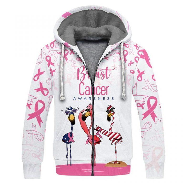 Breast cancer awareness flamingo american flag 3d fleece hoodie