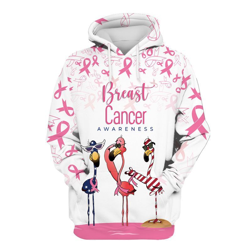 Breast cancer awareness flamingo american flag 3d hoodie