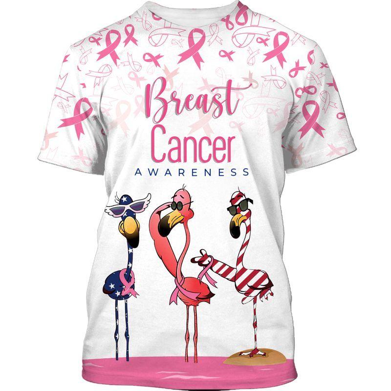 Breast cancer awareness flamingo american flag 3d t-shirt