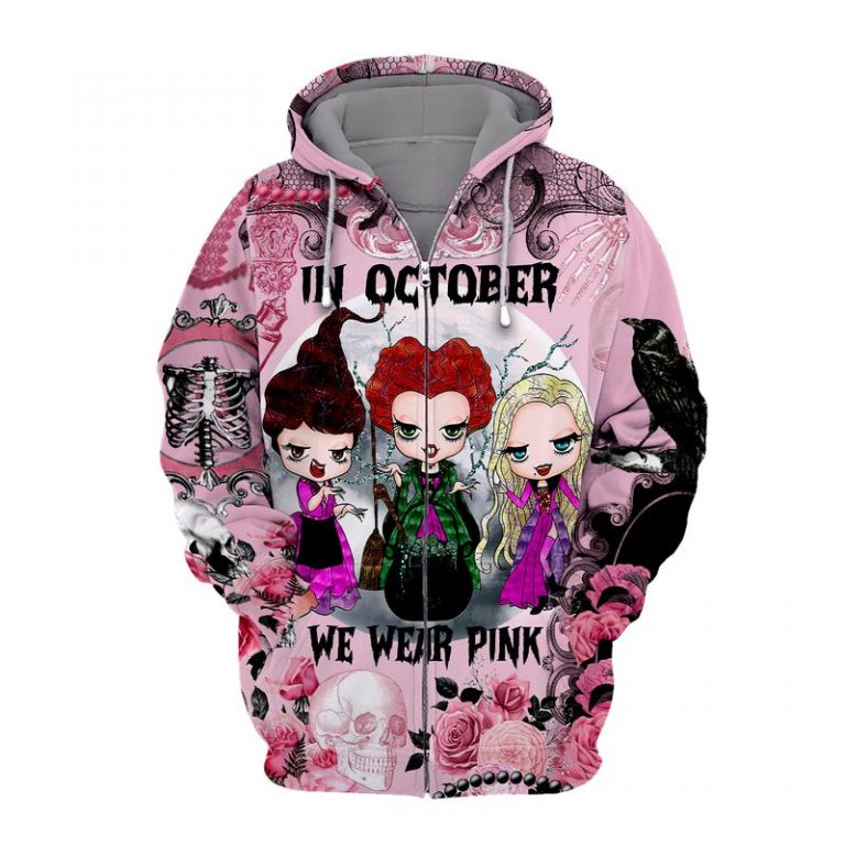Breast cancer awareness happy halloween Sanderson Sisters In october we wear pink 3d zip hoodie