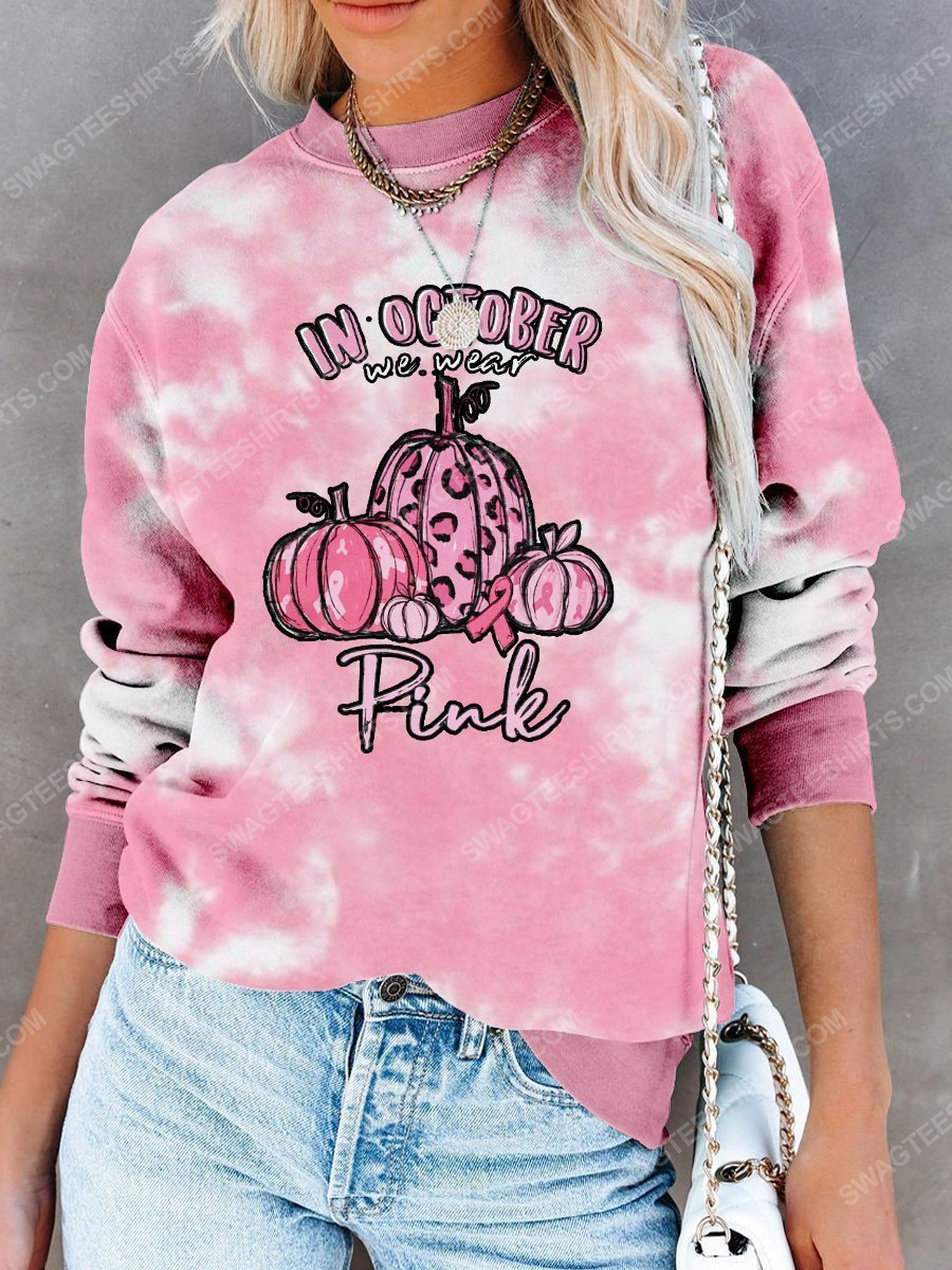 Breast cancer awareness in october we wear pink pumpkin leopard tie dye shirt