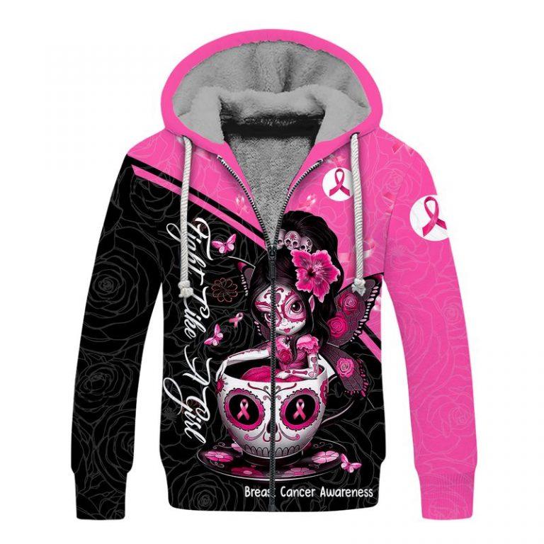 Breast cancer awareness tea cup sugar skull fairy 3d fleece hoodie