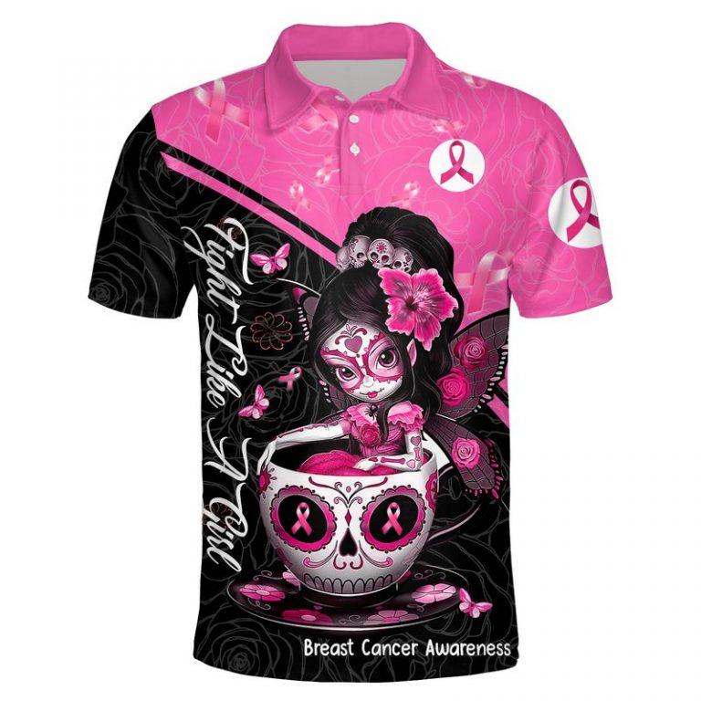 Breast cancer awareness tea cup sugar skull fairy 3d polo shirt