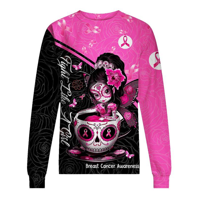 Breast cancer awareness tea cup sugar skull fairy 3d sweatshirt