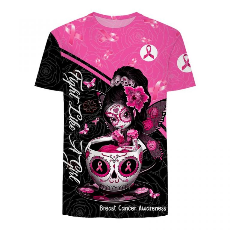 Breast cancer awareness tea cup sugar skull fairy 3d t-shirt