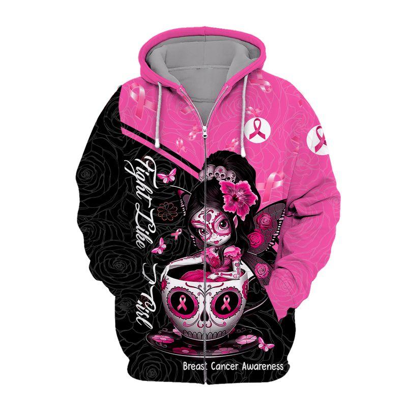 Breast cancer awareness tea cup sugar skull fairy 3d zip hoodie