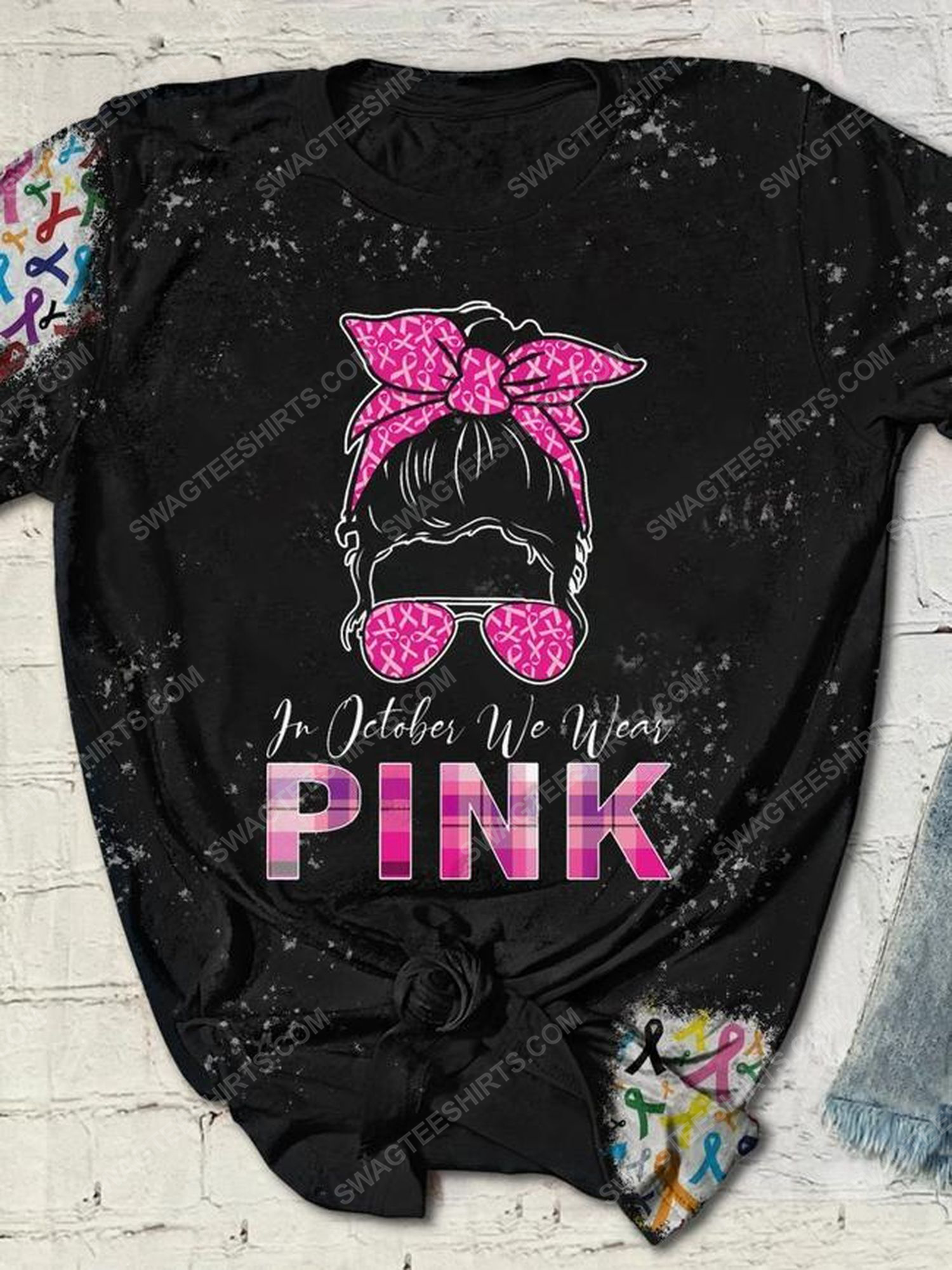 Breast cancer in october we wear pink full print shirt