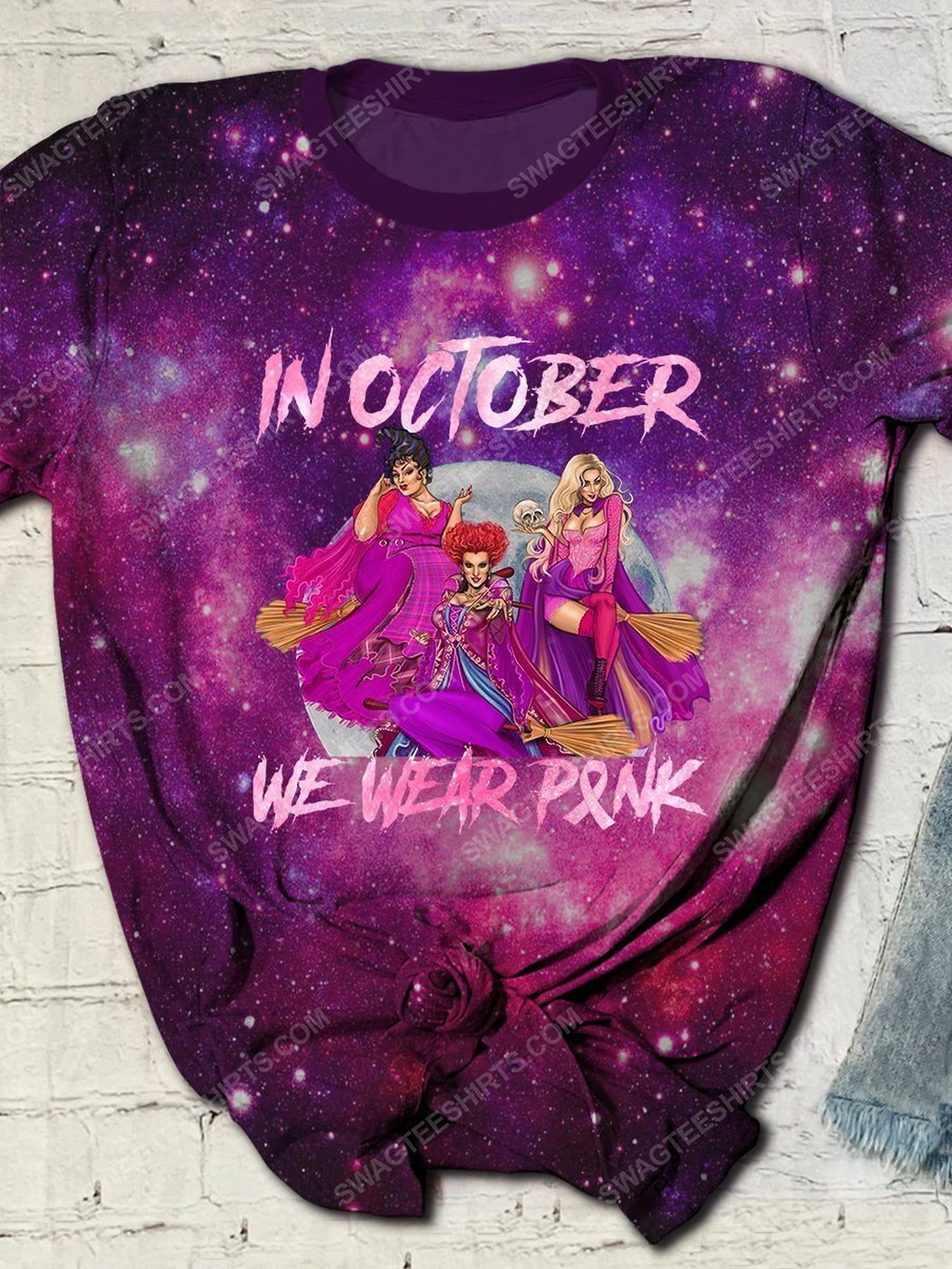 Breast cancer in october we wear pink hocus pocus galaxy full print shirt