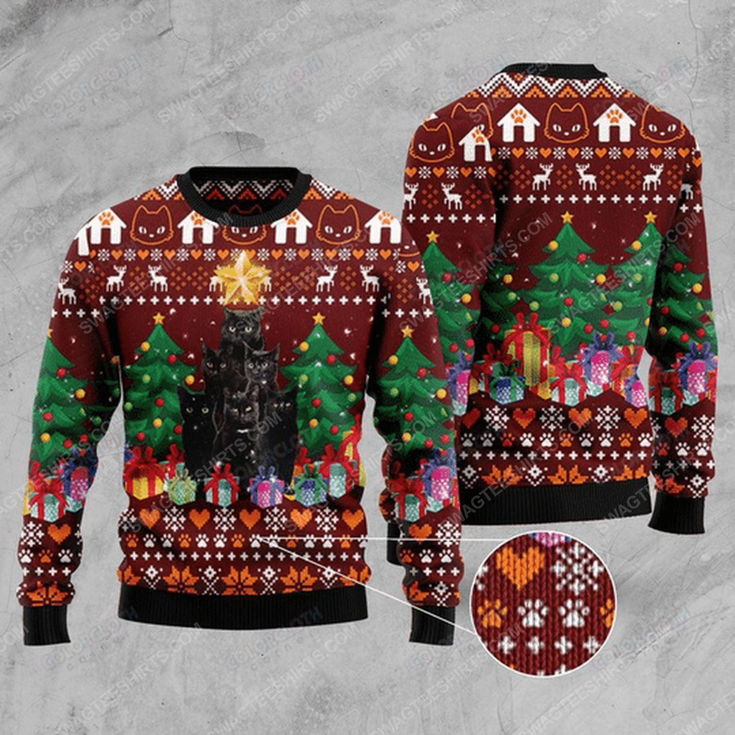 Cat and christmas tree ugly christmas sweater