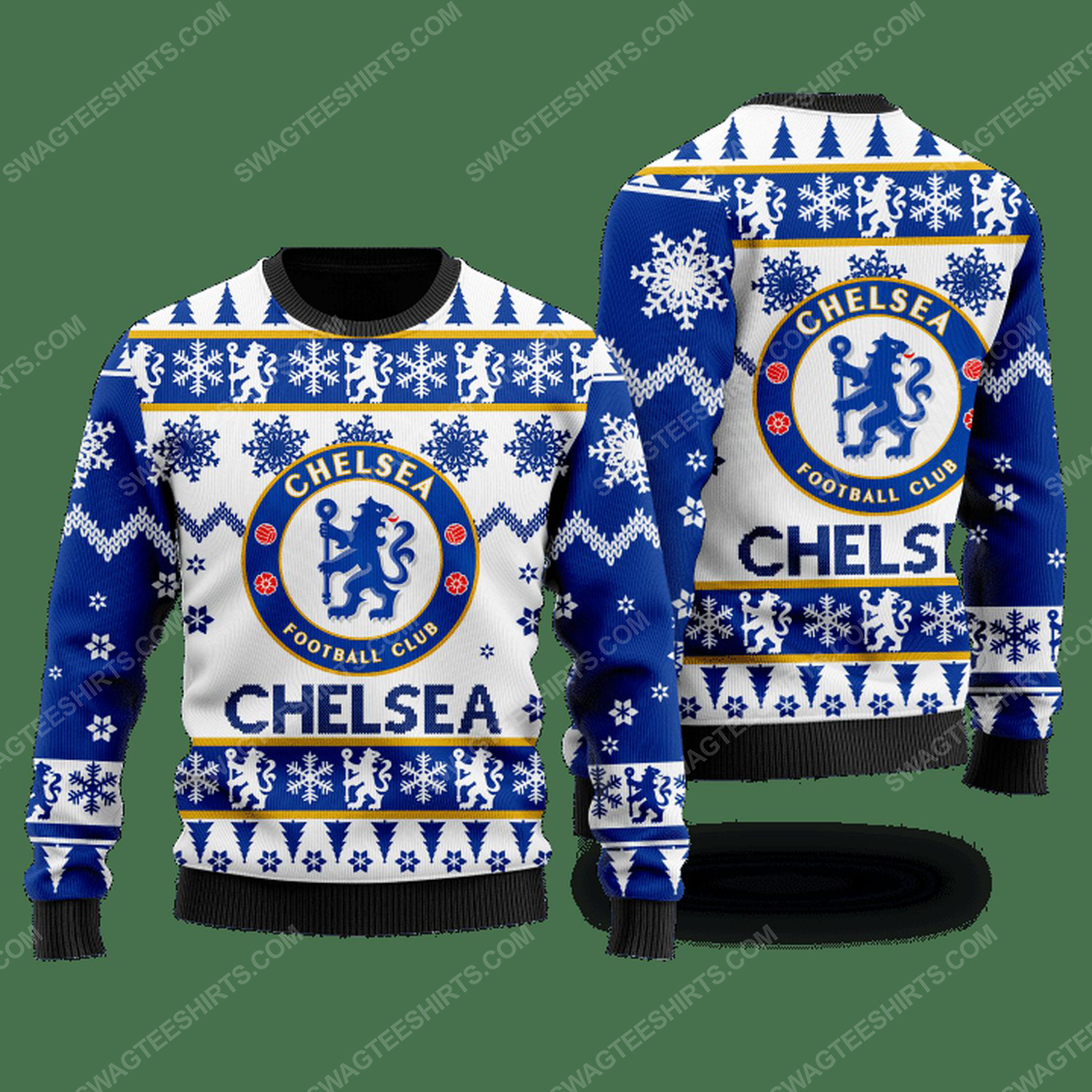 Chelsea football club ugly christmas sweater