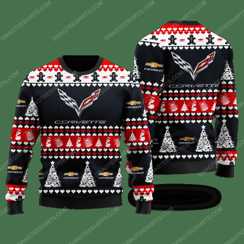 Chevrolet corvette racing car ugly christmas sweater
