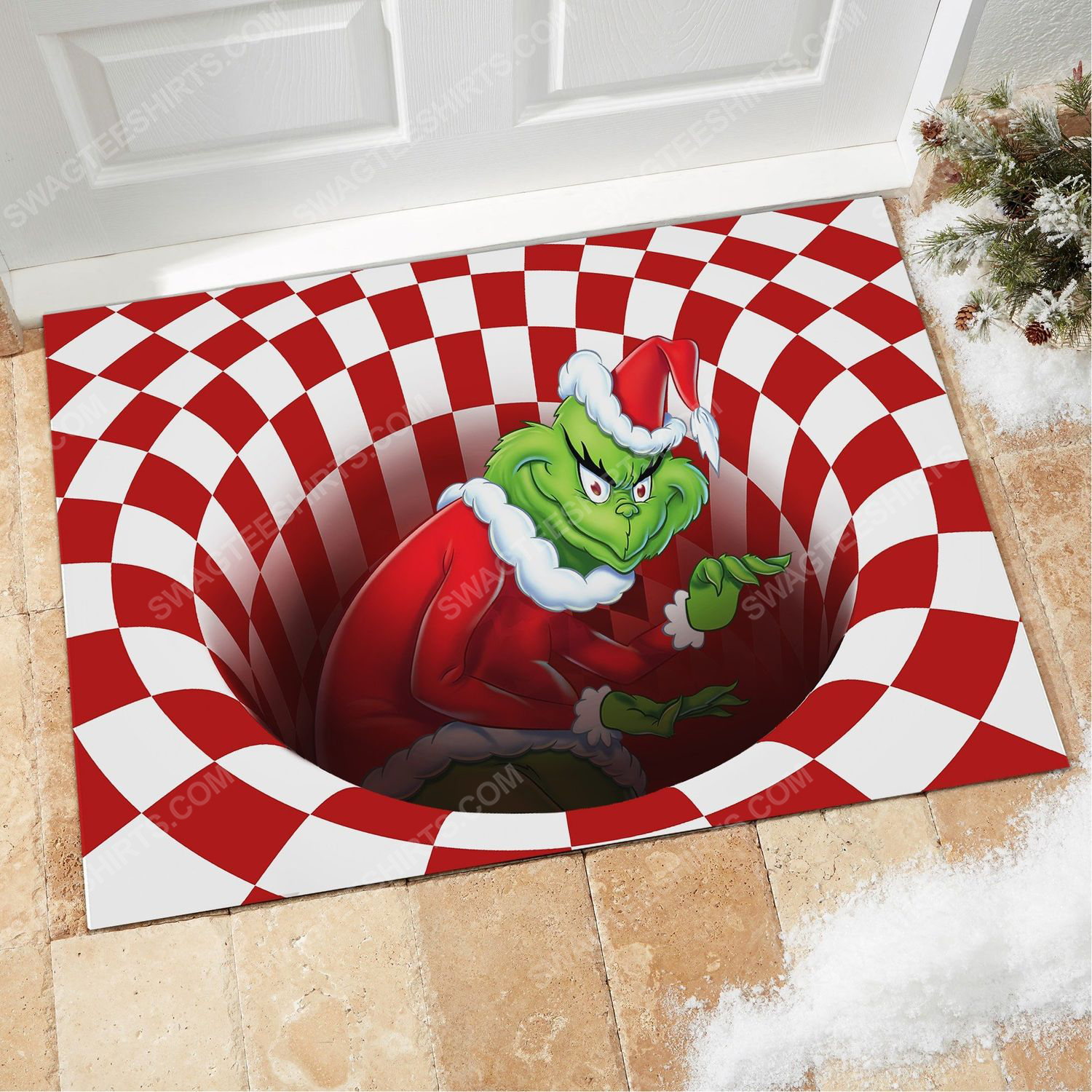 Christmas vacation grinch all over print doormat