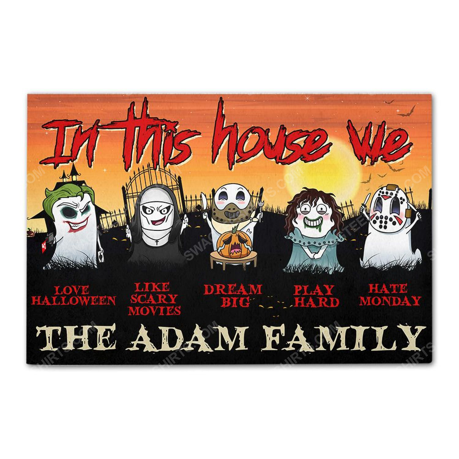 Custom for family in this house we love halloween doormat