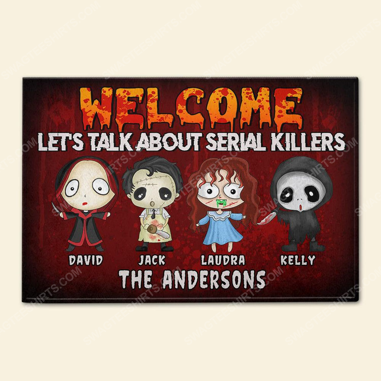 Custom halloween for family let's talk about serial killers doormat