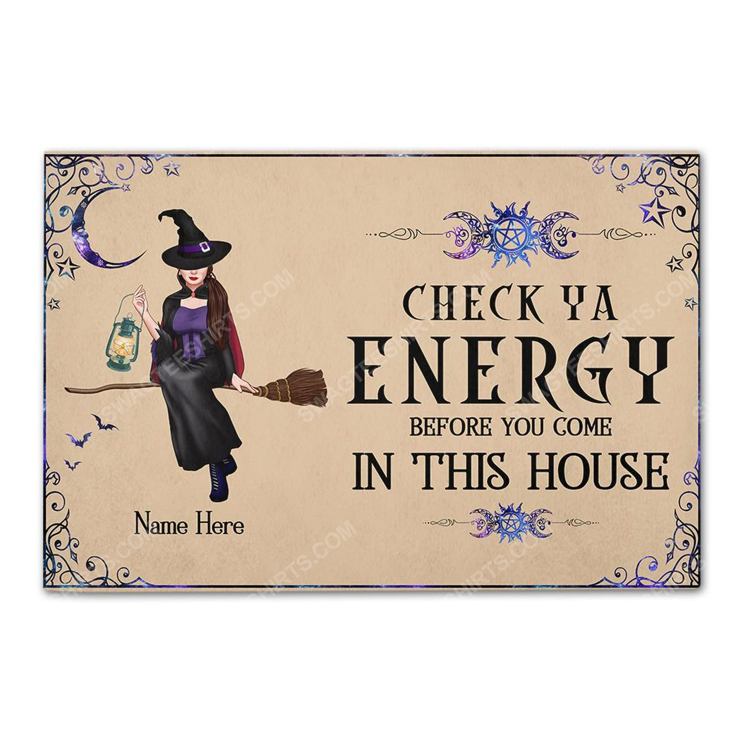 Custom halloween for witch girl check ya energy before you come in this house doormat