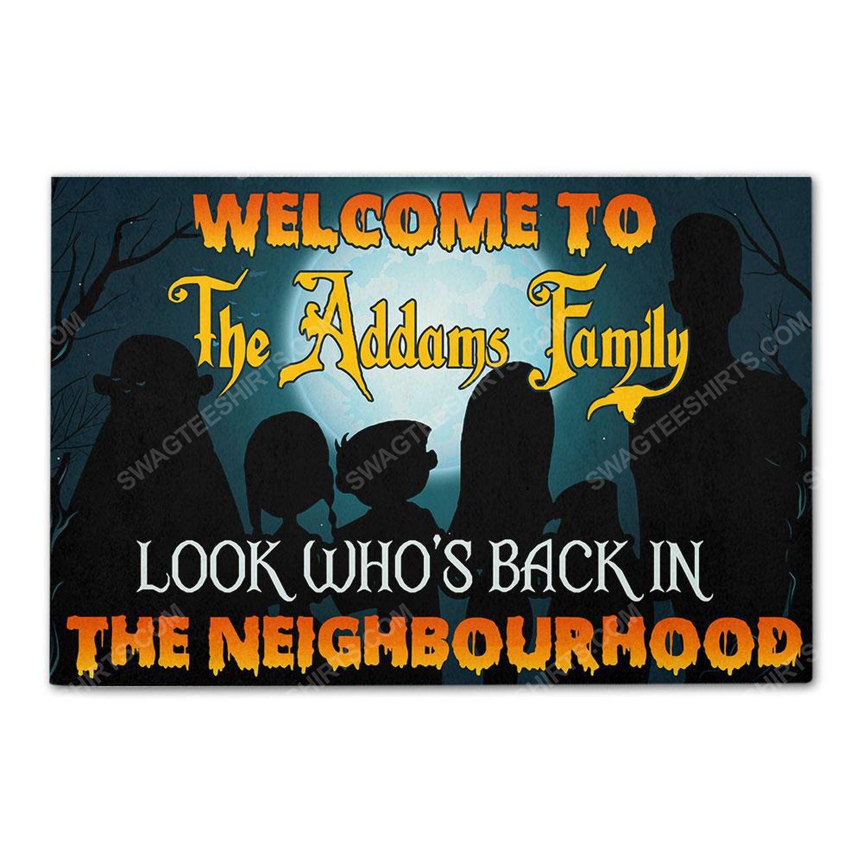 Custom halloween look who's back in the neighbourhood doormat