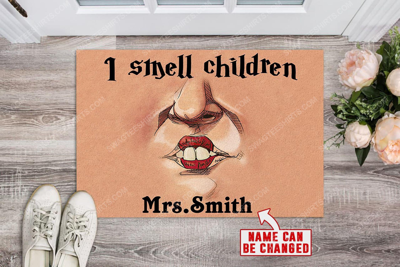 Custom halloween teacher hocus pocus i smell children doormat