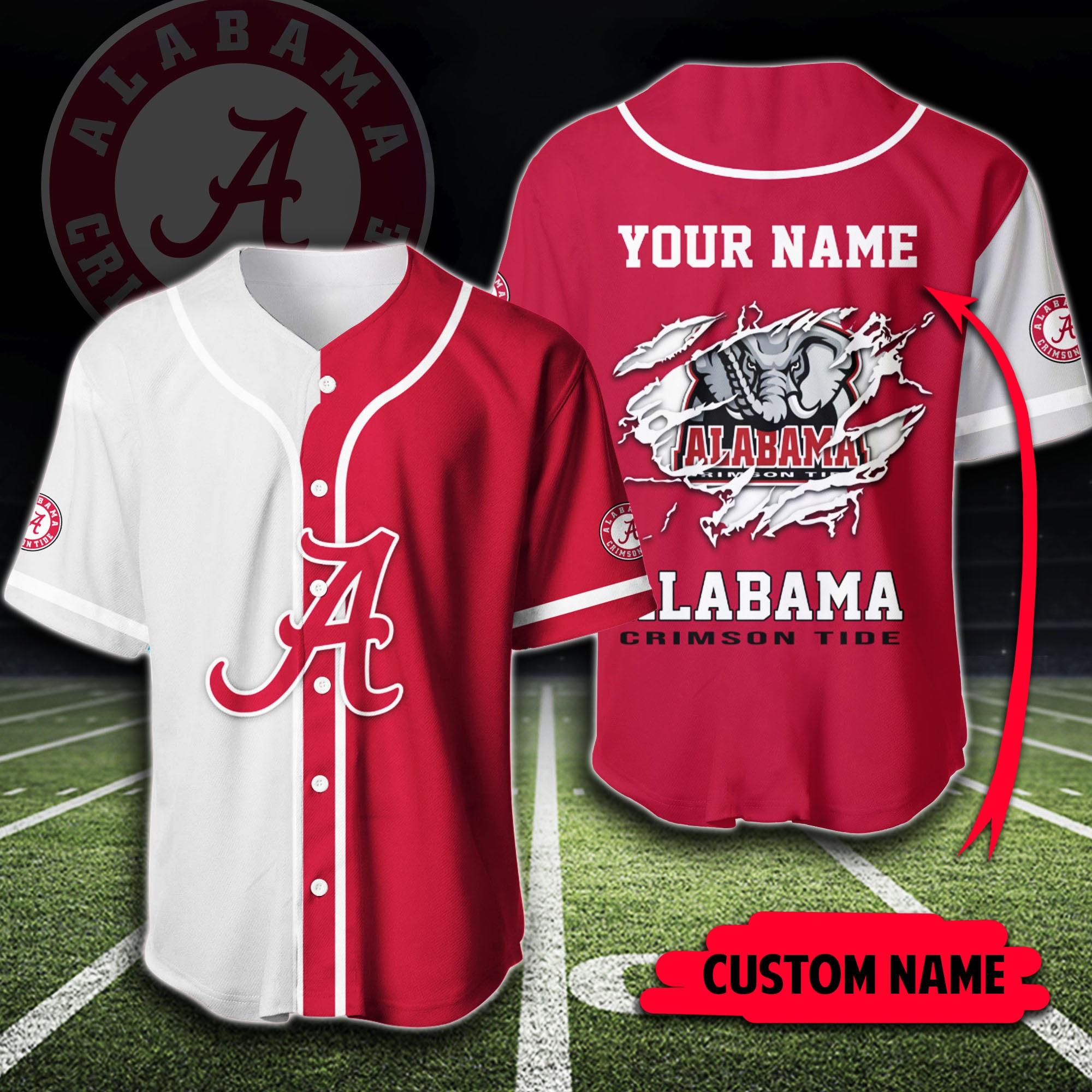 Custom name Alabama Crimson Tide baseball jersey shirt