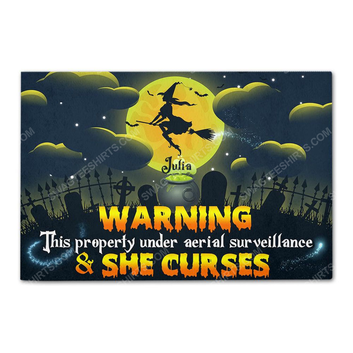 Custom witch warning property under aerial surveillance and she curses doormat