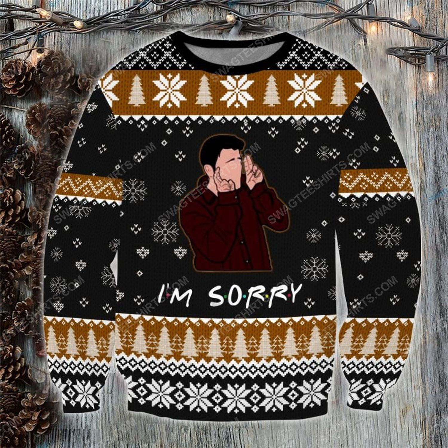 Friends tv show i'm sorry ugly christmas sweater