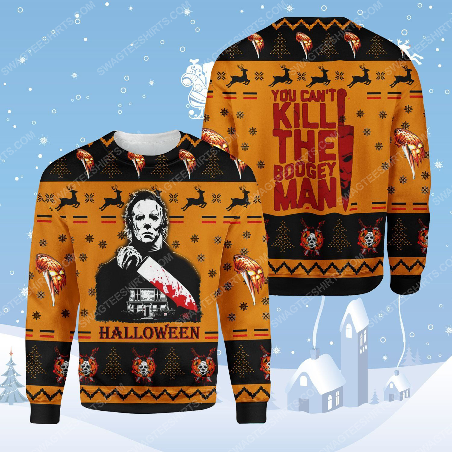 Halloween michael myers you can't kill the boogeyman ugly christmas sweater