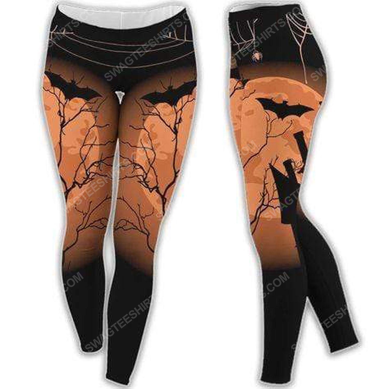 Halloween night and bat moon pattern legging