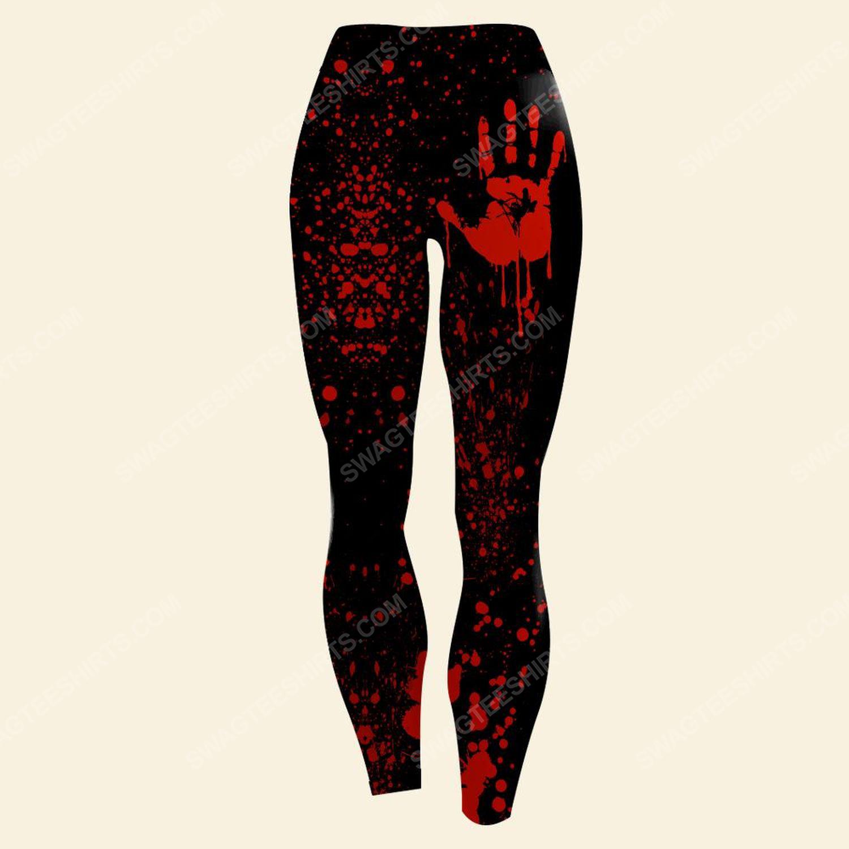 Halloween night with blood hand full print legging