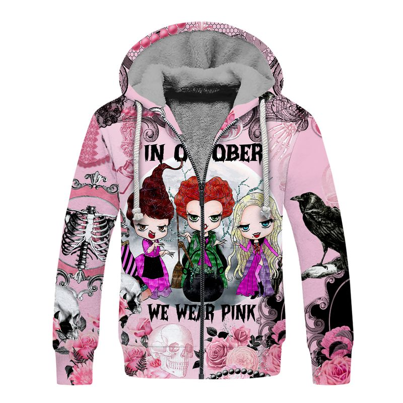 Hocus pocus In october we wear pink Breast cancer awareness happy halloween 3d fleece hoodie