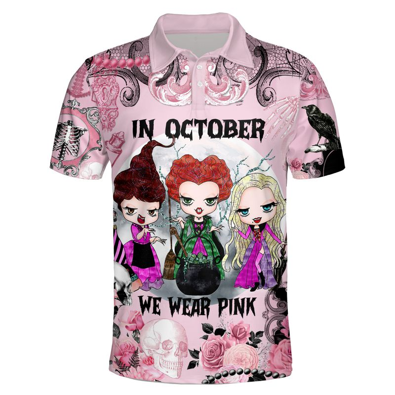 Hocus pocus In october we wear pink Breast cancer awareness happy halloween 3d polo shirt