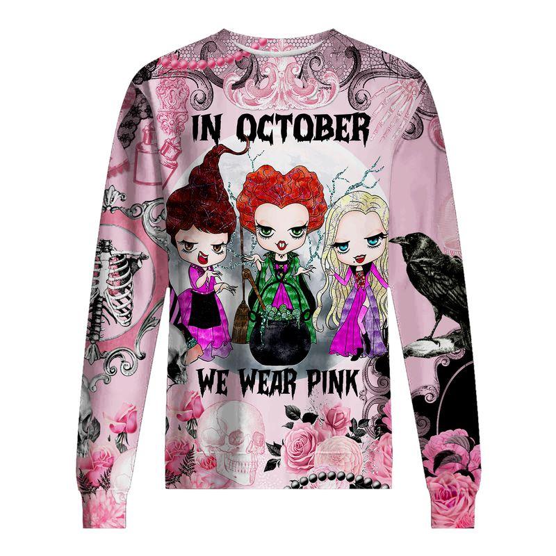 Hocus pocus In october we wear pink Breast cancer awareness happy halloween 3d sweatshirt