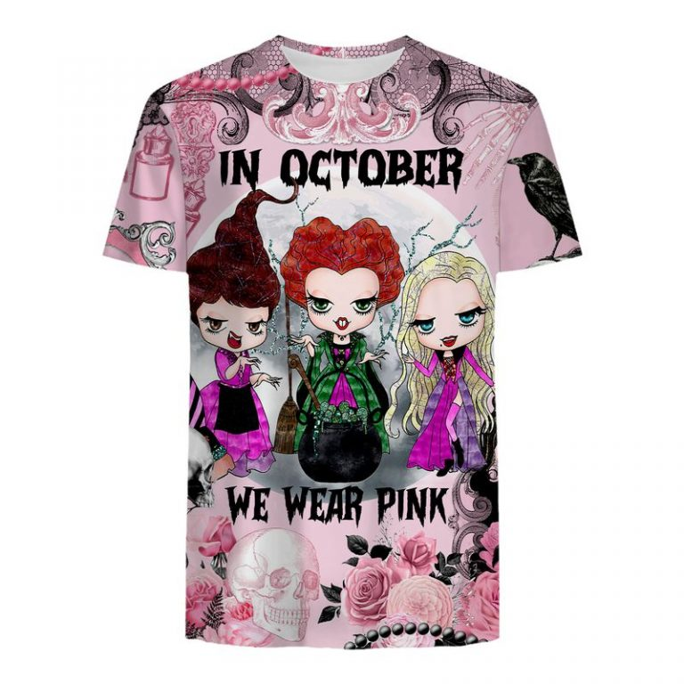 Hocus pocus In october we wear pink Breast cancer awareness happy halloween 3d t-shirt