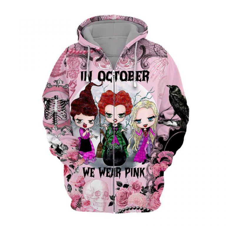 Hocus pocus In october we wear pink Breast cancer awareness happy halloween 3d zip hoodie