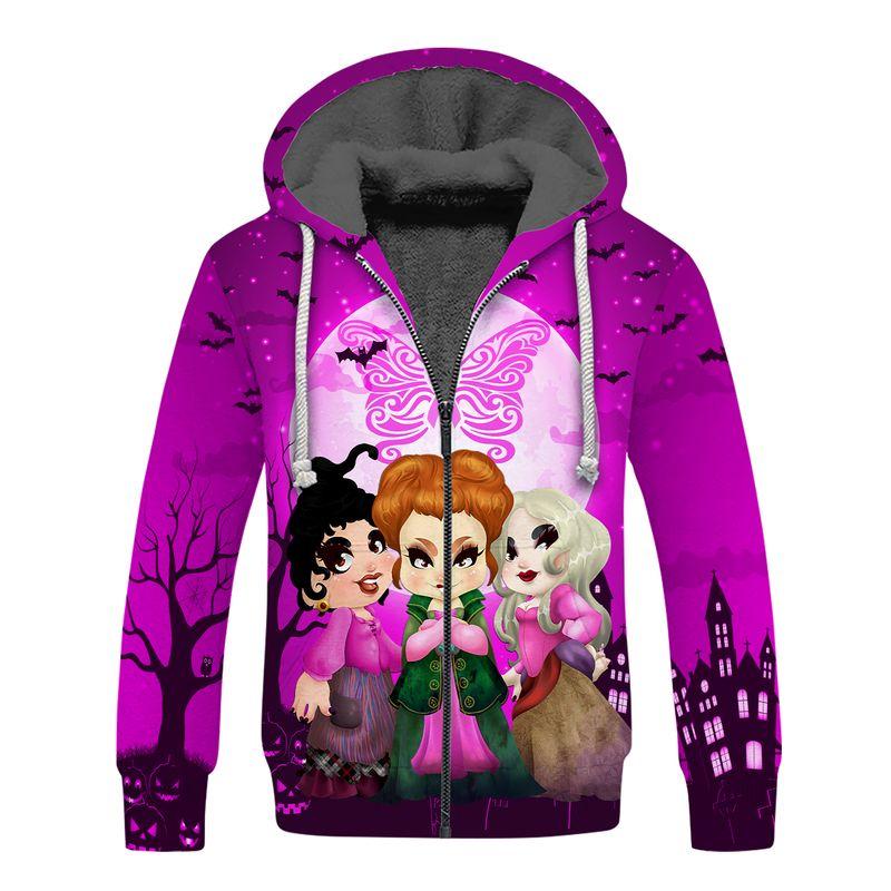 Hocus pocus happy halloween butterfly breast cancer 3d fleece hoodie