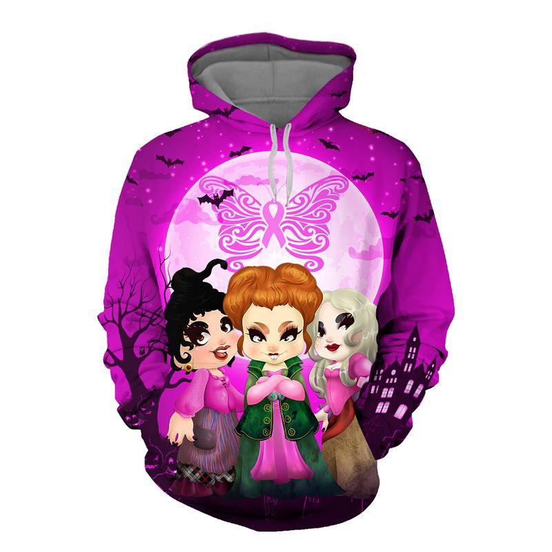 Hocus pocus happy halloween butterfly breast cancer 3d hoodie
