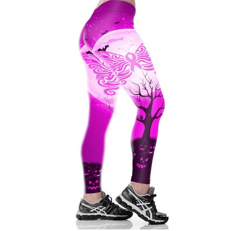 Hocus pocus happy halloween butterfly breast cancer 3d legging