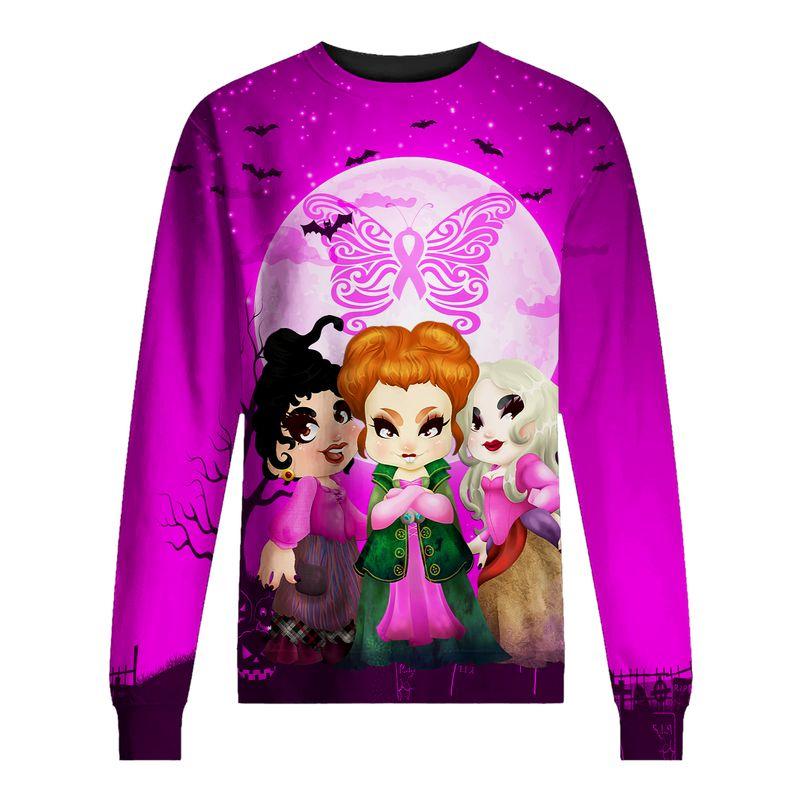 Hocus pocus happy halloween butterfly breast cancer 3d sweatshirt