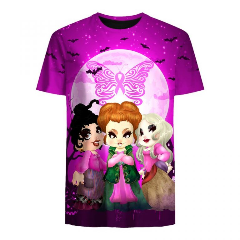 Hocus pocus happy halloween butterfly breast cancer 3d t-shirt