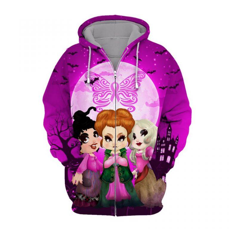 Hocus pocus happy halloween butterfly breast cancer 3d zip hoodie