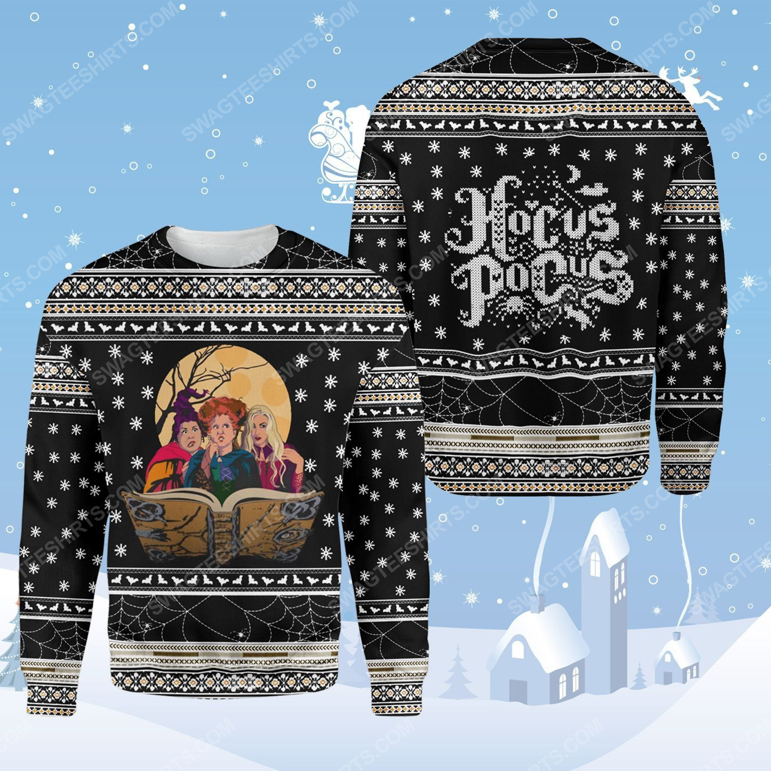 Hocus pocus witches ugly christmas sweater