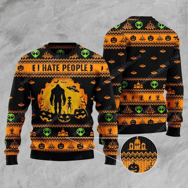 I hate people bigfoot and ufo ugly christmas sweater
