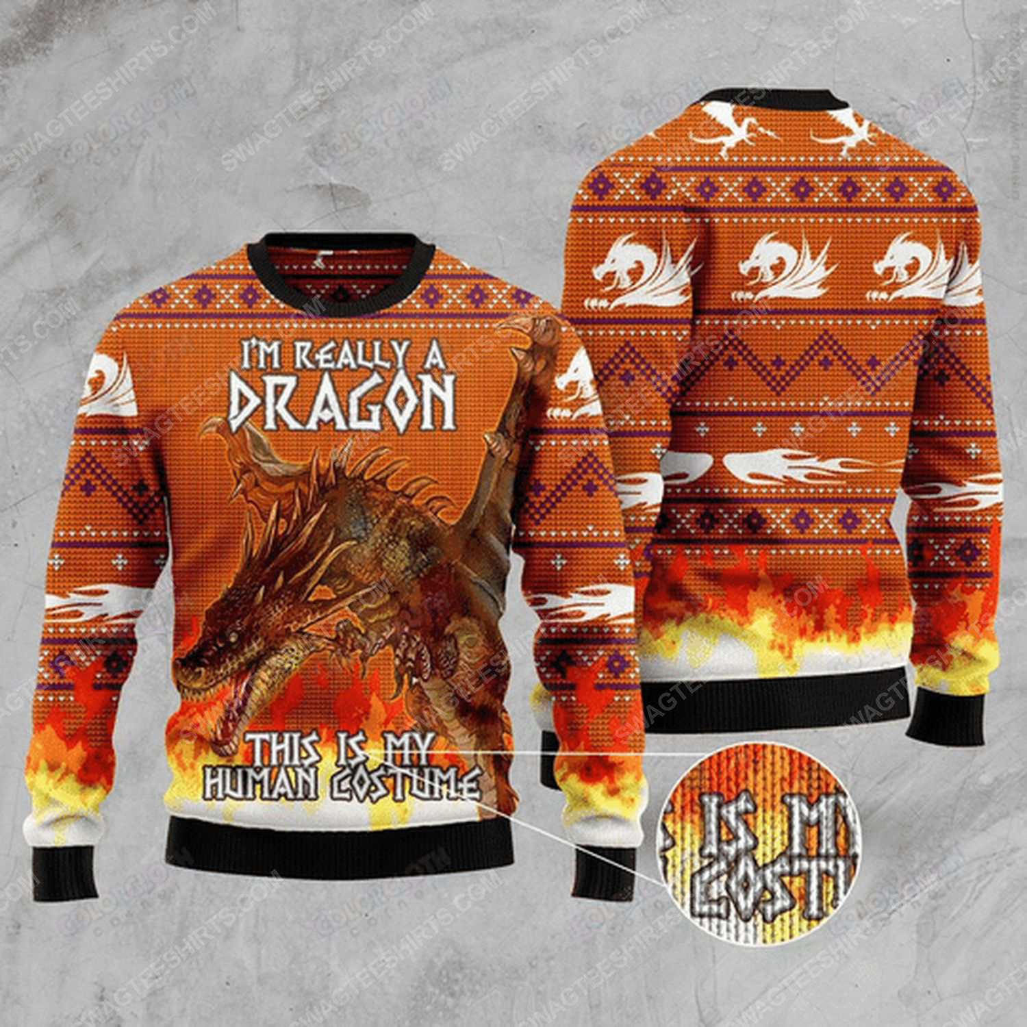 I'm really a dragon this is my human costume ugly christmas sweater
