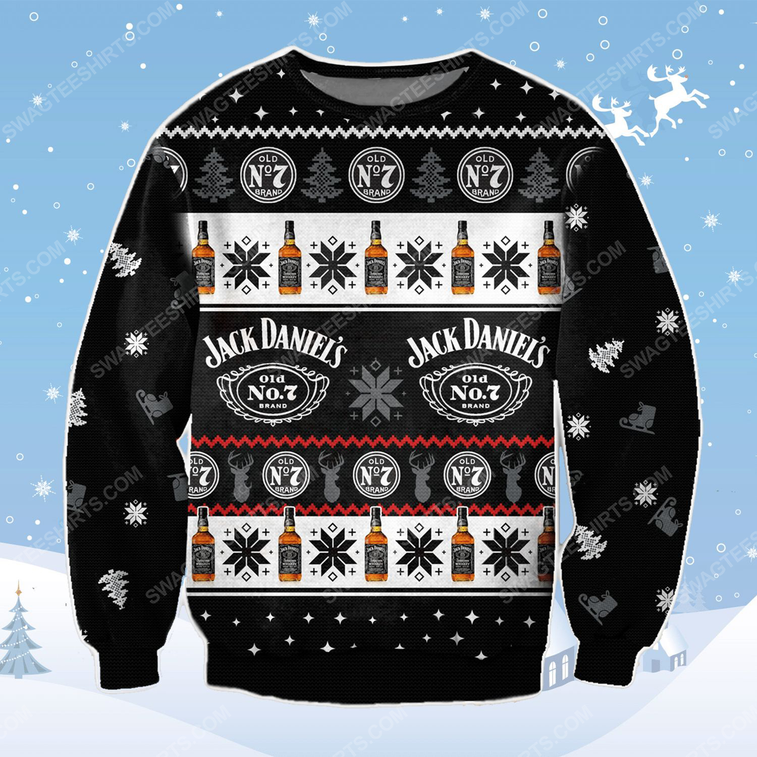 Jack daniel's old no 7 tennessee whiskey ugly christmas sweater