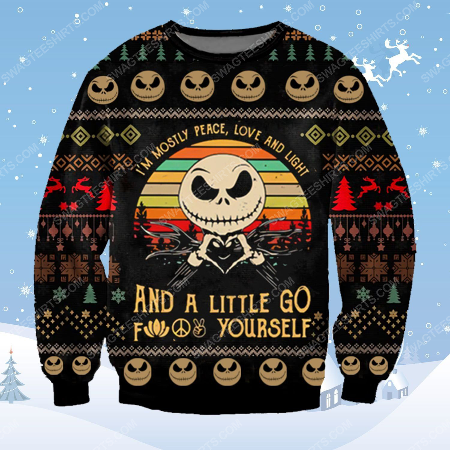 Jack skellington i'm mostly peace love and light ugly christmas sweater