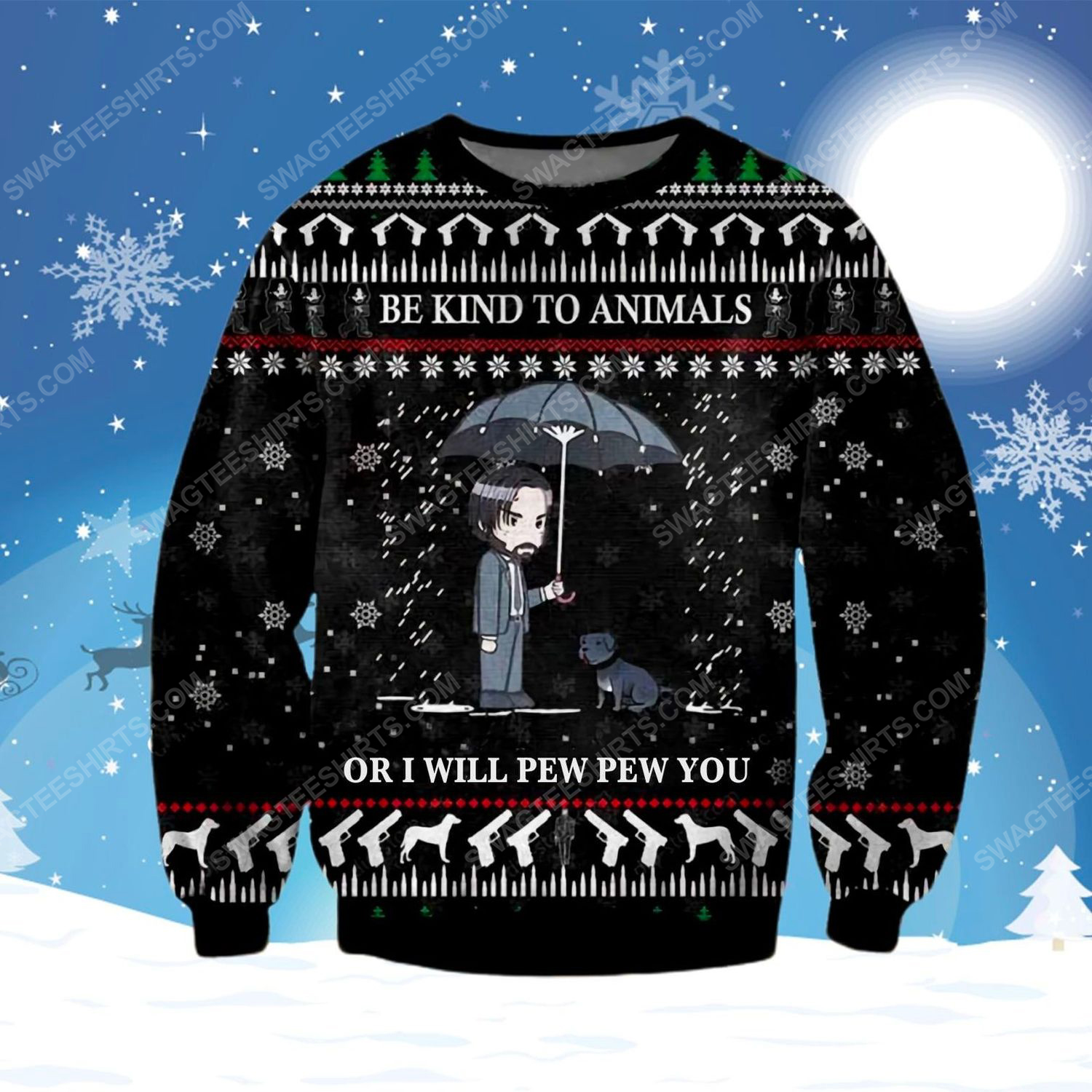 John wick be kind to animals ugly christmas sweater